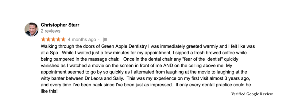 Green Apple Dental Review From Google